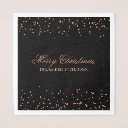 Elegant Merry Christmas Copper Confetti Dots Paper Napkin - decor gifts diy home & living cyo giftidea