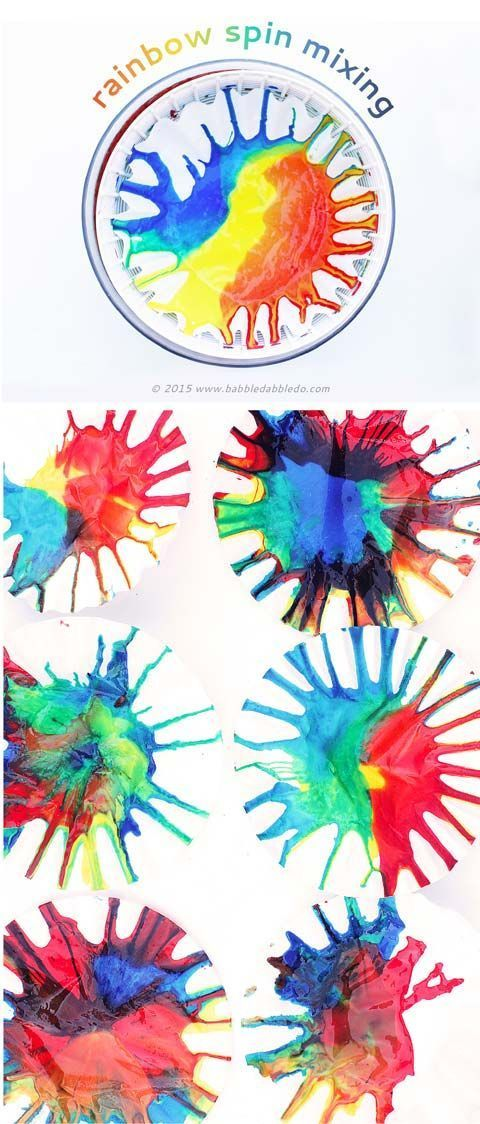 Science Art: Rainbow Spin Mixing- Explore color theory and physics in this simple art project. #PicMonkeySmarts #EDUspin