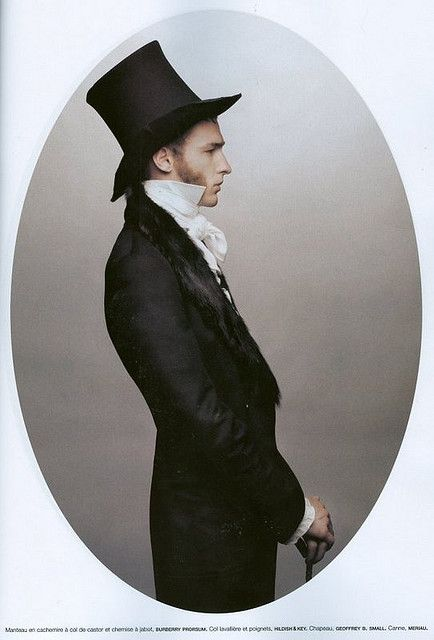 MEN  Top hat- a tall, cylindrical hat with a stiff brim usually slightly curved on the sides, worn by men especially on formal occasions.