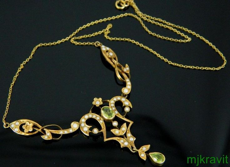 Art Nouveau 14K Peridot Natural Pearl Lavalier Necklace #Hallmarked #Lavalier