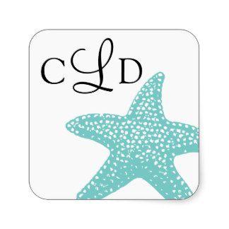 Mariage de monogramme d'étoiles de mer autocollants