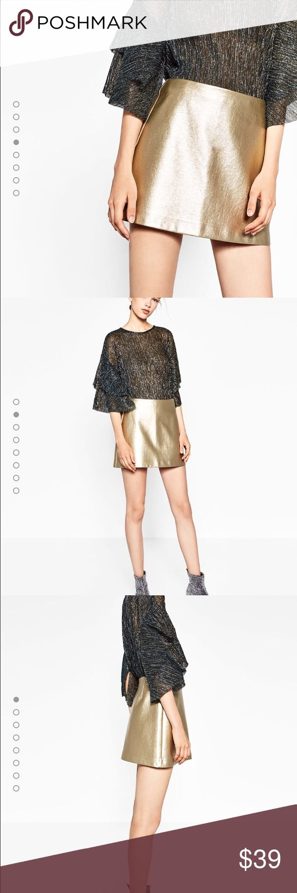 🆕Zara woman metallic skirt - gold Brand new with tags, size is XL but fits like large, this skirt is mini so is you are Large this is perfect for you🙌🏻 Zara Skirts Mini