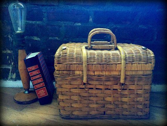 1960's Picnic Basket  #basket #picnic #vintage #1950s #1960s #1970s #outdoors #travel #retro #rustic #hippie #hipster #wicker #wood #design #storage #decor #midcentury