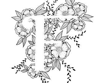 Letter F drukken - alfabet, kalligrafie, typografie, Monogram, bloemen - zwart-witte inkt kunst print