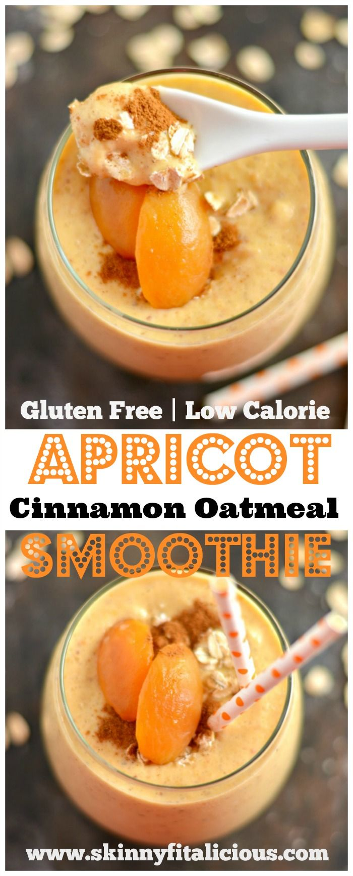 This Cinnamon Oat Apricot Smoothie is thick, creamy & bursting with sweet cinnamon flavors. This smoothie is guaranteed to keep you satisfied for hours. An easy gluten-free, vegan breakfast or snack.