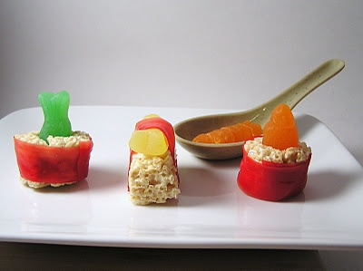 Dessert sushi made with rice krispie treats and fruit rollups!