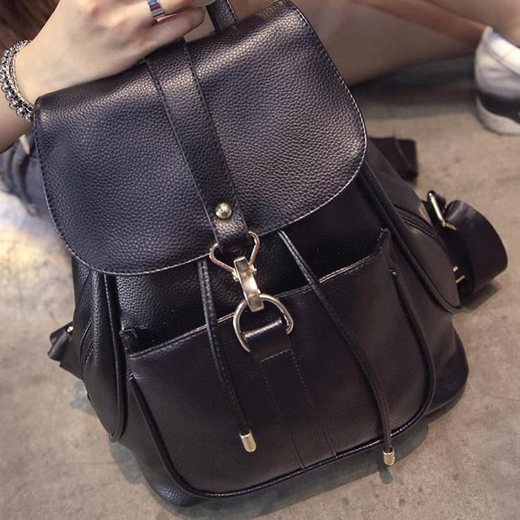 Ladies Classic Black Casual PU Leather Medium-Size College Backpack