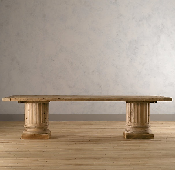 Jackson Rectangular Table With Metal Base: Interesting Mix Of Styles With Column Legs And A