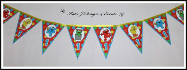 Sesame Street Banner Bunting #Sesame #Street #Personalised #Party #Decorations #Baby #Cute #Shower #Elmo #Oscar #TheGrouch #Cookie #Monster #Unisex #Shower #Birthday #Bunting #Party #Ideas #Banners #Cupcakes #WallDisplay #PopTop #JuiceLabels #PartyBags #Invites #KatieJDesignAndEvents #Creative
