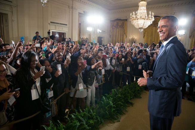 July 23, 2015: President Barack Obama makes a surprise visit to the Beating the Odds Summit, part of the First Lady's Reach Higher Initiative, in the East Room of the White House,
