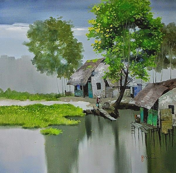 The Vietnamese painter Dang Van Can was born in 1957 in An Duc commune, Long Ho District, Vinh Long Province, the place is located along riverside of Mekong river in Vietnam. He showed an early talent in drawing and painting. He commenced to art works since 1976 with main job as a illustrator for local newspaper and magazine. Dang Can is a member of Vietnam Fine Arts Association. He has many paintings in Private Collection in many countries.