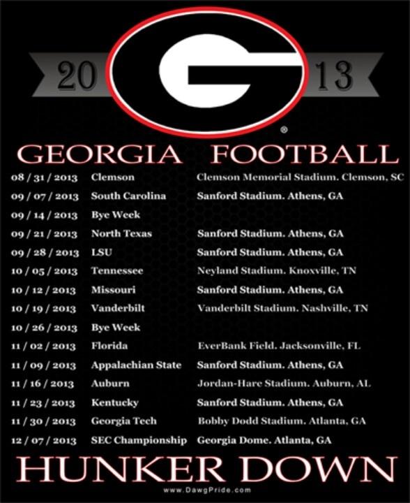 University of Georgia football 2013 schedule