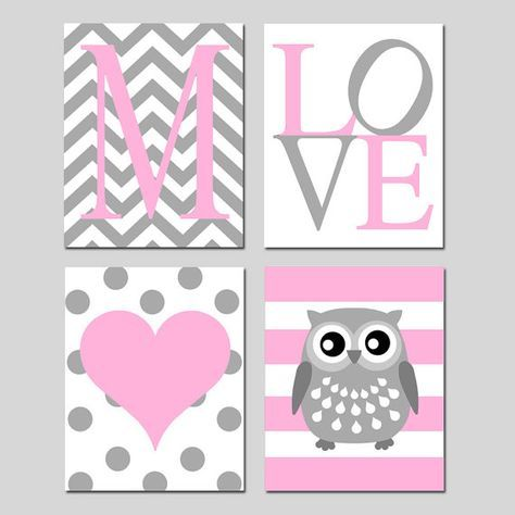 Baby Girl Nursery Art Quad  Chevron Initial LOVE Polka by Tessyla