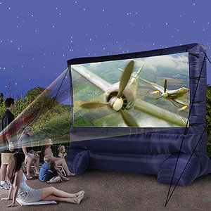 Perfect summer family night movie.  Deluxe Outdoor Inflatable Movie Screen, 12' Widescreen
