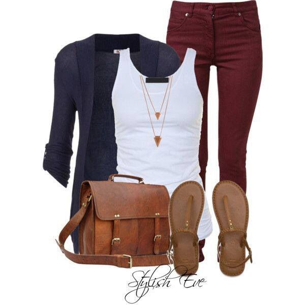 White tank, navy sweater, brown sandals. Shown with maroon pants but also great with maroon skirt