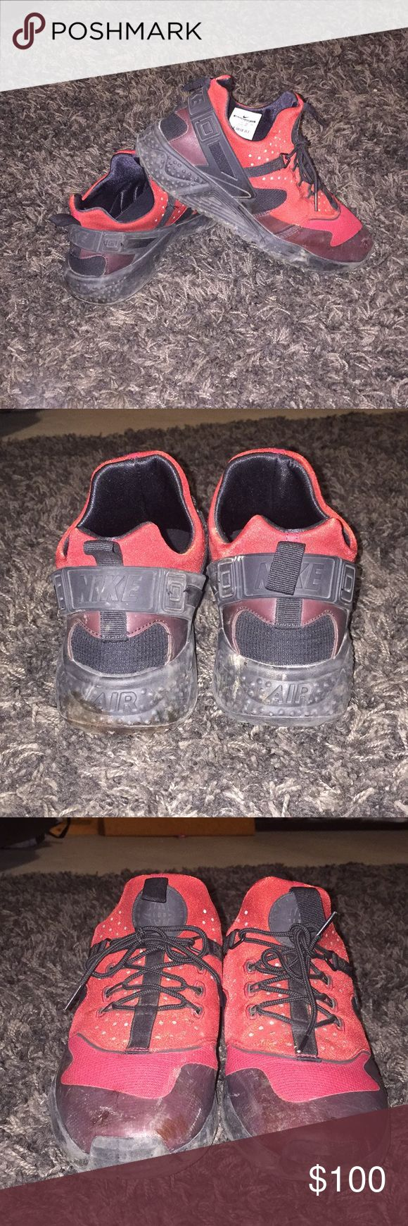 Red Nike huaraches A little dirty but in good shape size 11 Nike Shoes Athletic Shoes