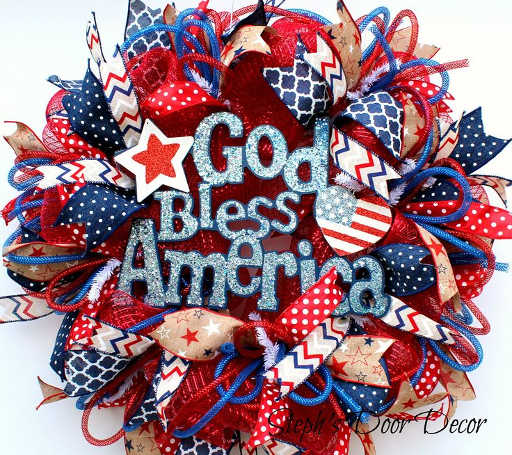 God Bless America Fourth of July Wreath - 4th of July Wreath - July Fourth Decor - 4th of July Deco Mesh - July 4th Decor - Red White Blue by StephsDoorDecor on Etsy