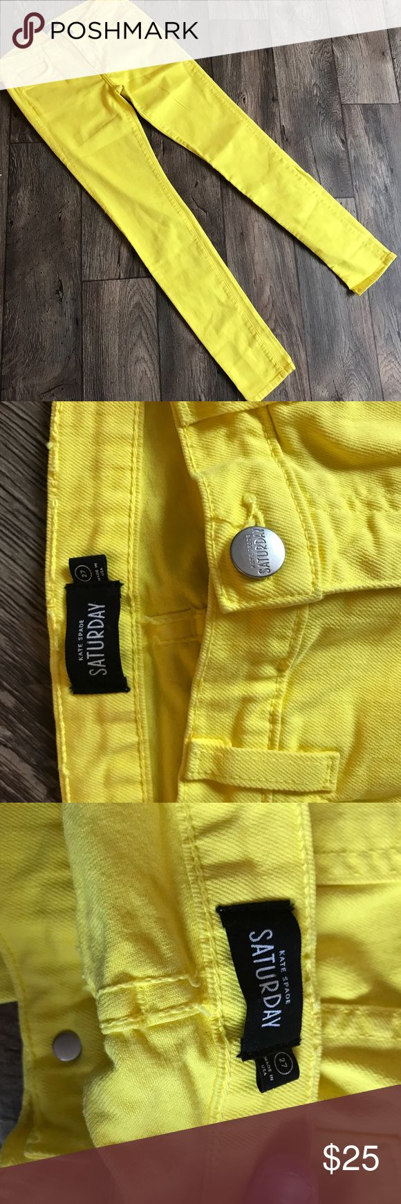 """Kate Spade Saturday Yellow jeans size: 27 🌺 Perfect condition kate spade women's Saturday jeans size: 27 Length:40.5 Inseam:31.5"""" Rise:9"""" Waist:28"""" kate spade Jeans Skinny"""