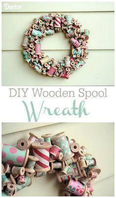 DIY Wreath Tutorial: Wooden Spools - Darice