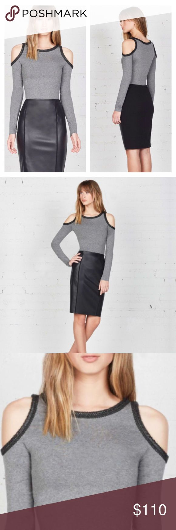Bailey 44 Harlow Top The Bailey44 Harlow Top is a super soft, heavy stretch jersey long sleeve top with flirty cold shoulder cut-outs and contrast eco leather trim detail.  Length: 26 in.  96% Rayon, 4% Spandex body  70% Polyurethane, 30% Nylon eco leather detail Bailey 44 Tops