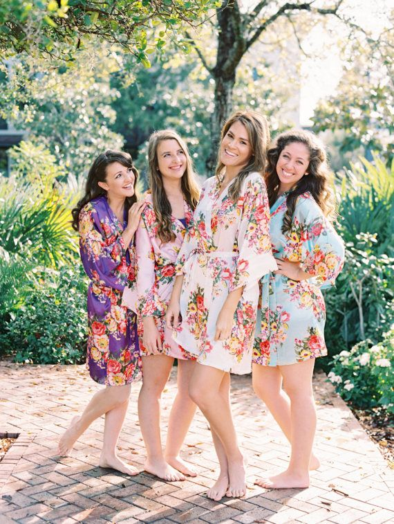 Bridesmaid Robes Bridesmaid Gifts Satin Floral Robes Bridal  Bridesmaid robes, Bridesmaid Gifts - These high quality floral bridesmaid robes are the perfect gift for your bridesmaids, wedding party, and mother of the bride! This handmade satin floral kimono robe is a wonderful keepsake for your bridesmaids that they can use again and again. We make these in advance in our shop in order that we can ship fast!