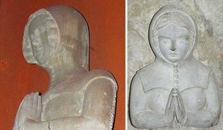 Effigy of the wife of Francois I (+ 1362/1363) and a weeper beneath said effigy - La Sarraz, Switzerland Deventer Burgerscap: A tight fitting hood with armpit straps.