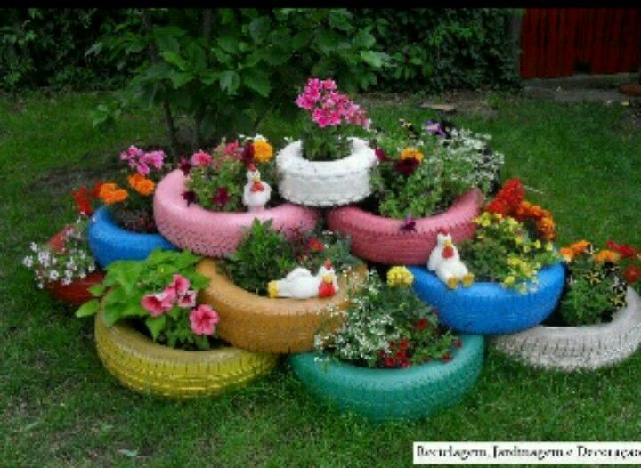 Diy rainbow tire flower pots gardening that i love for Garden design ideas with pots