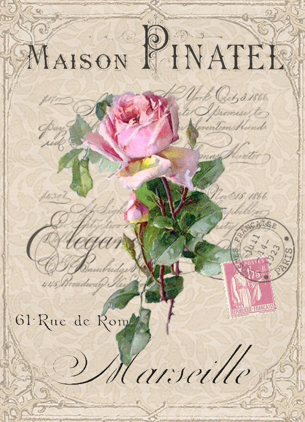 Vintage rose postcard digital collage. Free to use. Pink roses on French ad with stamp, postmark & writing