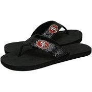 San Francisco 49ers Ladies Black Sequin Strap Flip Flops  @Fanatics #FanaticsWishList