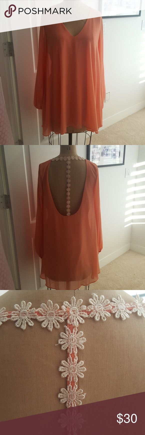 """trapeze dress peach sheer trapeze dress with same color lining, elastic wrists with split sleeve and open back with daise flower """"T"""" applique Cotton Candy Dresses Mini"""