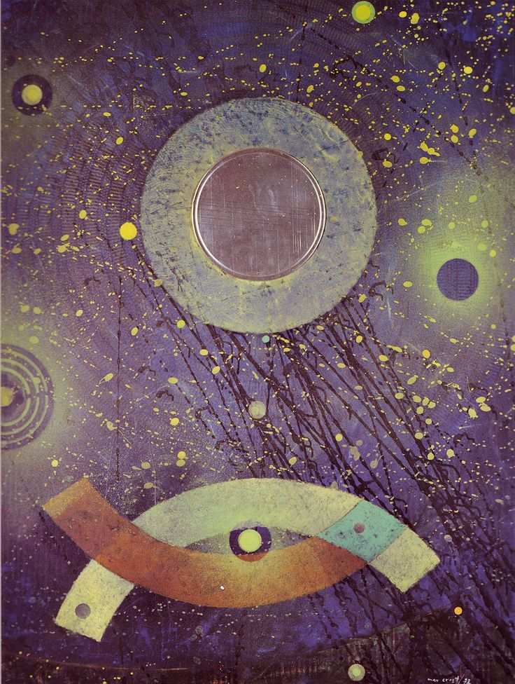 The Night-Prowling Fish by Max Ernst, 1974. Oil on canvas, Even as an octogenarian, Ernst continued to work, busy on a lithographs, collages and paintings. This is one of his final three paintings. Max Ernst died in Paris on April 1st, 1976