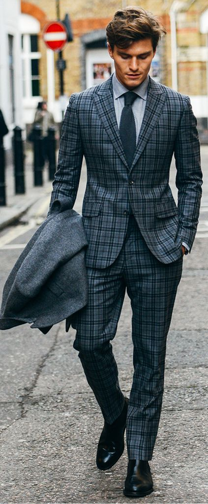 British Style Mens Plaid Suits Vintage Men Slim Fit Tuxedos Notch Lapel Groomsmen Wedding For Jacket Pant