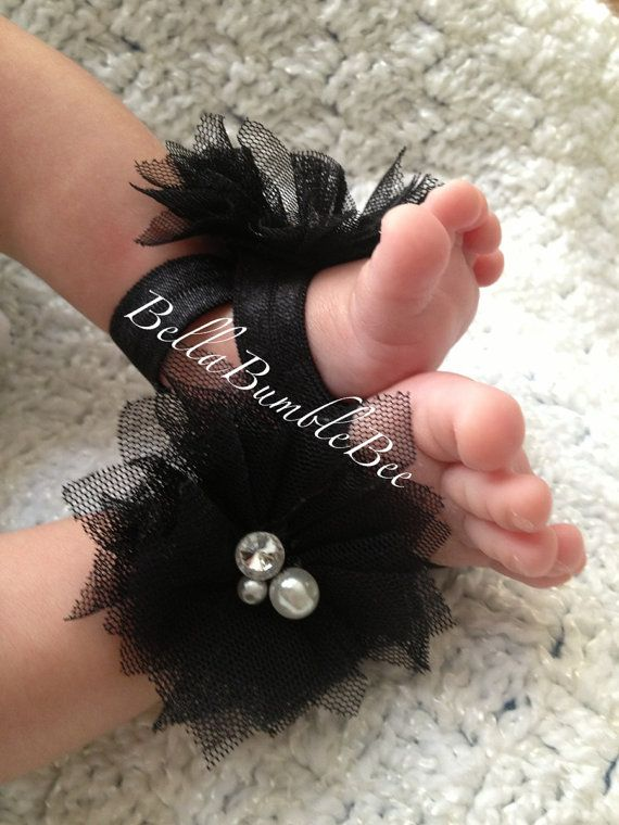 Black Baby Barefoot Tulle Flower Sandals for Newborn Infant or Toddler Girls, Shabby Booties, Bottomless Sandles Shoes by BellaBumbleBee, $10.95