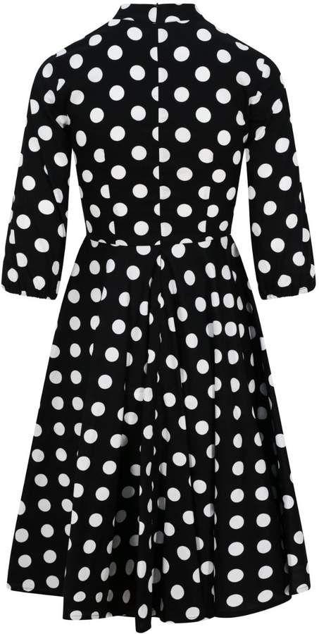 30838a215c71 Zalinah White - Alice Black And White Polka Dot Swing Midi Dress With Neck  Bow #Black#Polka#Alice