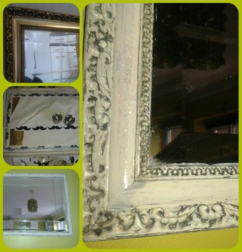 Old gold bevelled mirror transformed. X