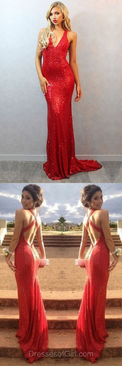V Neck Prom Dress, Mermaid Prom Dresses, Sequined Evening Gowns, Red Party Dresses, Open Back Formal Dresses
