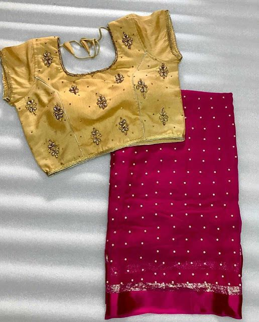 Pearl Georgette saree with stitched blouse.| Buy Online georgette sarees | Elegant Fashion Wear