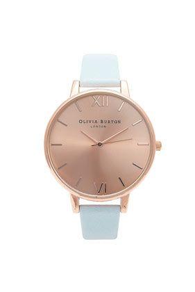 **Olivia Burton Big Dial Powder Blue and Rose Gold Watch 72