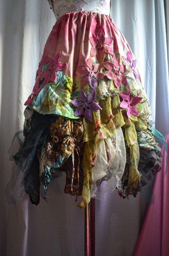 RESERVED FOR G.Bohemian Upcycled skirt boho chic gypsy fairy skirt mori girl  altered couture one of a kind skirt wearable art skirt
