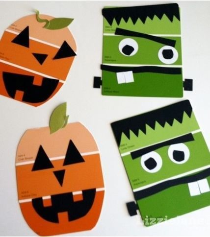 Get some orange and green paint swatches from your local paint store! Cut and add eyes, mouth, and so much more! #HalloweenCraft