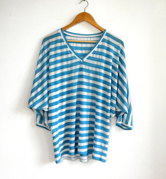 loose fitting batwing top blue and white stripes viscose jersey V neck top