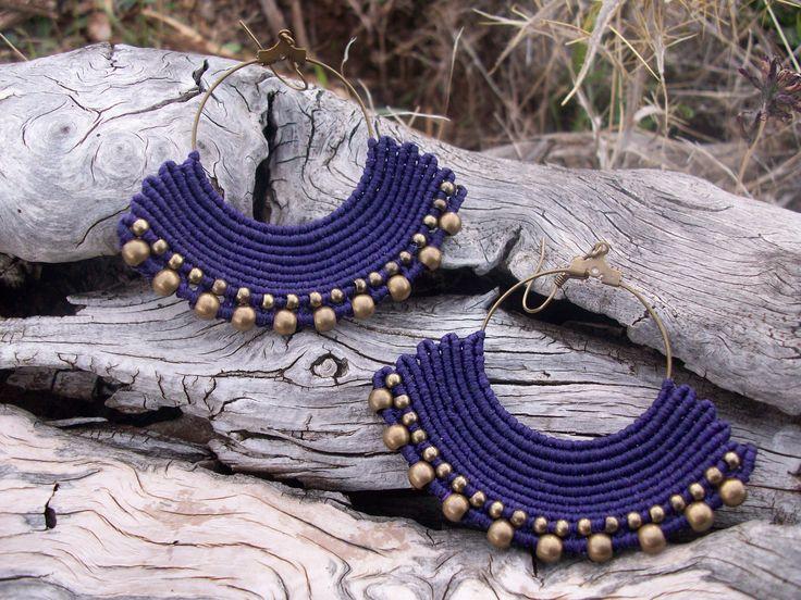 Boho - Gipsy fanshaped earrings with brass beads, purple earrings, beaded earrings!!
