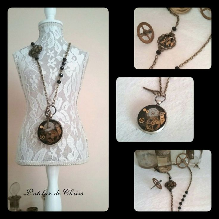 "Collier sautoir montre à gousset steampunk ""miss time"" : Collier par l-atelier-de-chriss"