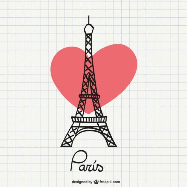 Torre Eiffel desenho com coração Vetor grátis