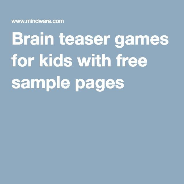 Brain teaser games for kids with free sample pages