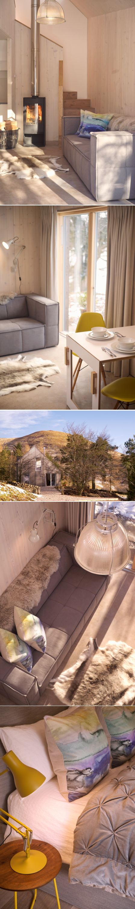 Architect designed holiday house in the Pentland Hills Regional Park near Edinburgh. Westside Woodshed build using CLT timber, with oak & plywood detailing  Architect: Roxburgh McEwan  Modern Architecture Scotland, Nominated for a Saltire Architecture Award  Sofa: Homer Edinburgh/ Cushions: Bluebellgray/ Stove: Aga/ Basket: Cox&Cox/ Paint/ oil: Osmo oil/ Flooring: Russwood/ CLT Timber/ Polished concrete floor/ Folding wall table : Richard Connor West Linton/ Chairs: Vitra Eames DSW Yellow