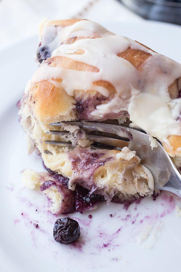 Pillowy Blueberry Breakfast Rolls by thecozyapron #Rolls #Blueberry
