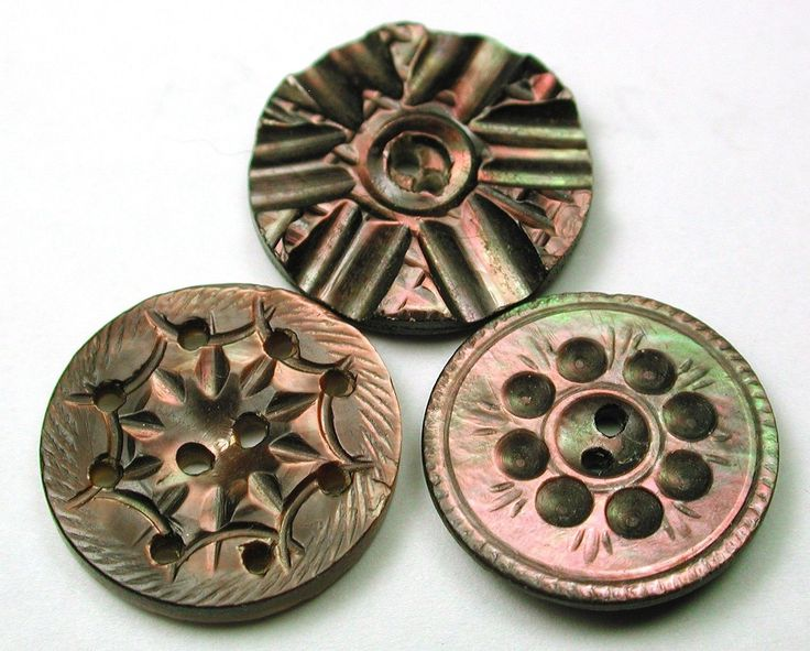 3 Antique Carved Shell Buttons Various Iridescent Designs | eBay