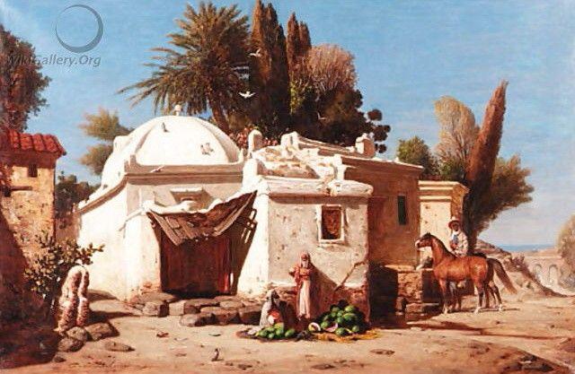 Algérie - Peintre Français  Paul DELAMAIN, (1821-1882), huile sur toile , Titre : Le vendeur de pasteques