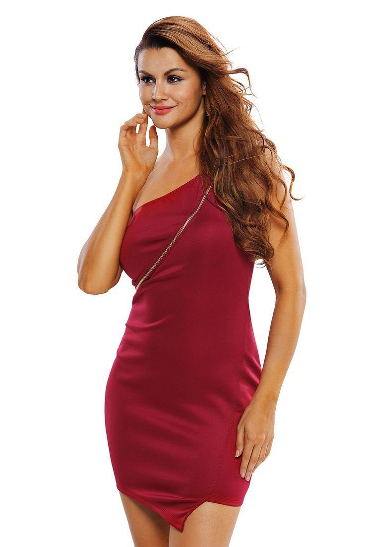 Robes Mini Rouge Une Epaule Fermeture Eclair Pas Cher www.modebuy.com @Modebuy #Modebuy #Rouge #femme #Rouge #gros